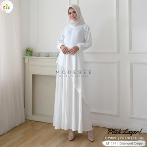 Layer Dress White Modesee M1174