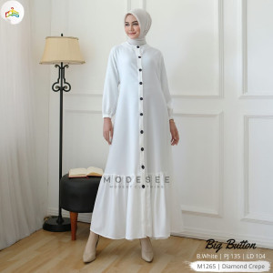 Big Button White Dress Modesee M1265